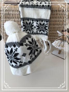 Zwart/witte set van een muts en sjaal