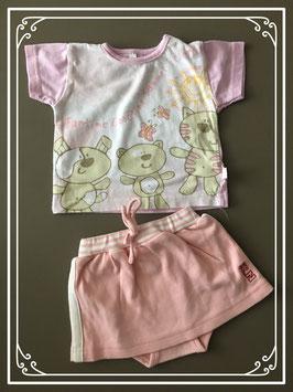 Set van 2 in roze en pasteltinten tshirt en rokje - maat 50