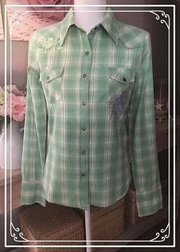 Aqua blauwe geruite blouse - Maat S
