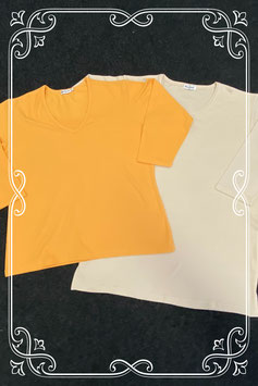Nieuw! Beige en oranje shirt met driekwart mouwen van Maryland maat L/XL