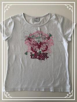 Wit korte mouwen shirt met roze print van s. Oliver - Maat 128-134