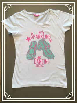 Wit T-shirt met schoenen print - maat 146-152