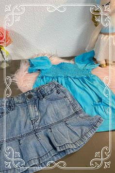 Leuk blauw shirt van C&A en spijkerrokje van H&M maat 92