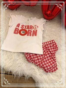 Wit korte mouwen shirt met rood geruit broekje - Maat 98