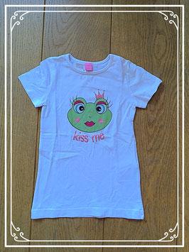Wit T-shirtje met kikkerkoningin - maat 104