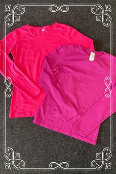 Roze en paarse longsleeve maat 158/164