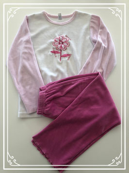 Wit/roze winterpyjama van Junior Fashion - Maat 128