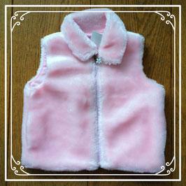 Roze bodywarmertje van teddystof - maat 80