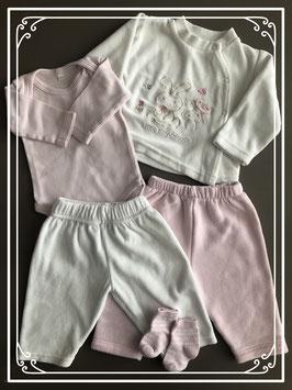 Wit en roze fijne setjes - Maat 50-56