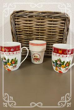 3 wit met rode kerstmokken