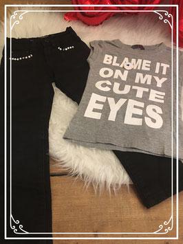 Zwarte broek met grijs T-shirt van equal - Maat 92