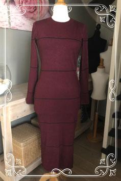 Nieuwe ! bordeaux lange  jurk met lange mouw van het Merk - Bershka Knit Wear - Maat - L