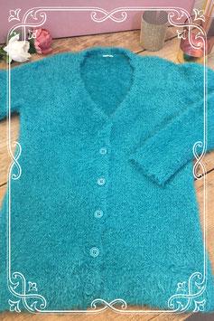 Zacht turquoise vest met knopen - Maat S