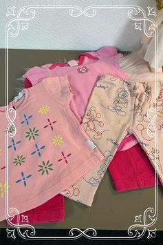 4-delig setje in diverse kleuren roze van o.a. Hema en Disney by Zara maat 74/80
