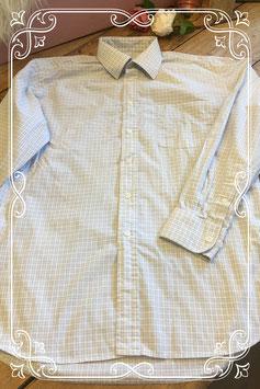 Lichtblauw/wit geblokt overhemd van HEMA - Maat M
