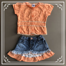 Oranje shirt met spijkerrokje - Maat 56