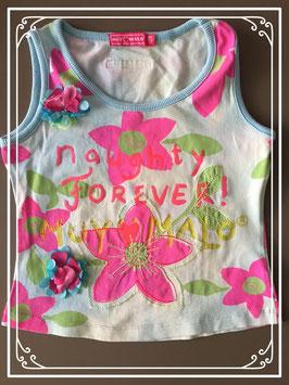 kleurrijk gebloemd hemdje met tekst merk MUV malo - maat 128