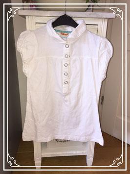 Wit shirtje met pofmouwtjes - maat 134-140