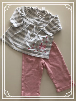 Grijs jurkje met roze legging - Maat 68