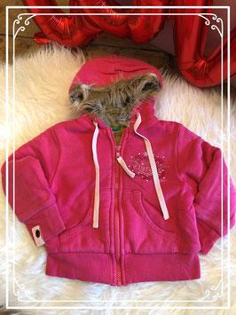 Dikke warme roze vest met bontvoering - United Colors of Benetton - maat 86