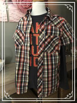 Geruite blouse met bijpassend lange mouwen t-shirt - Maat 158-164