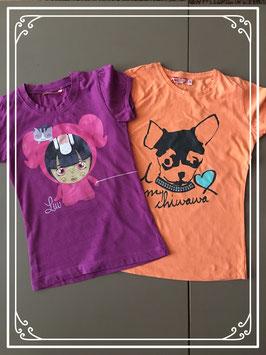 2-pak neonkleur tshirt met disneyprint merk hema en we - maat 122-128