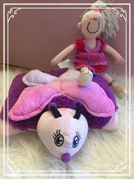 Paars/roze vlinder met HEMA meisje