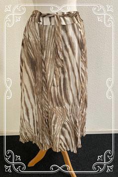 Sierlijke gestreepte rok in bruin en wit van Frank Walder maat 40