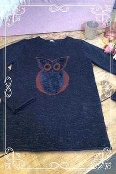 Donker blauwe trui met uil  Maat - S