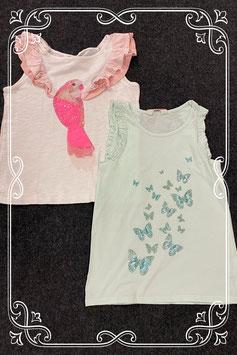 2 leuke tops in mintgroen en wit met roze van H&M maat 134/140