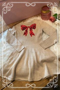 Beige jurk met rode strik van de H&M - Maat 134/140