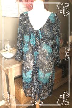 Blauwe tuniek met bloemenprint - Maat L