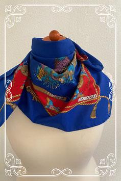 Elegant blauw sjaaltje met vogels - volwassenen