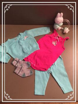 Turquoise setje met roze rompertje - Maat 56