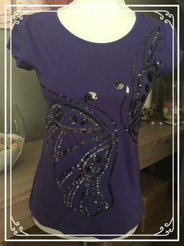 Nieuw paars H&M shirt met bling bling vlinder opdruk - maat S