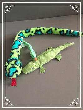 Groen knuffel reptielen-setje