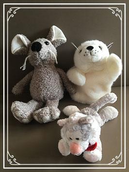 Driedelig knuffelsetje van een muis - een zeehond en een poes