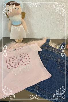 Roze Tshirt met spijkerjurkje van ducky beau Maat 80