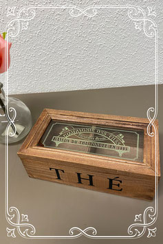 Nieuw! Bruin houten theedoosje