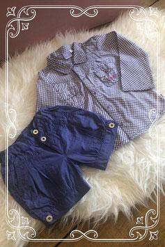Tweedelig paars setje met blouse en korte broek van BFC - Maat 86