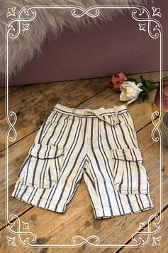 Witte broek met grijze verticale strepen van Mexx - Maat 86