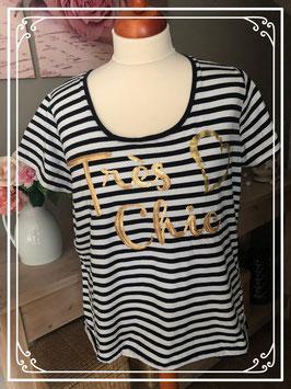 T-shirt zwart wit gestreept met gouden pailletten van het merk M&S Mode - Maat XXL