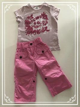 Roze broek met T-shirt - Maat 80
