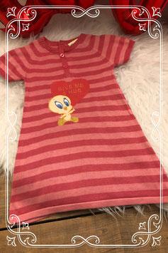 Roze horizontaal gestreept jurkje Tweety van baby Looney Tunes - Maat 86