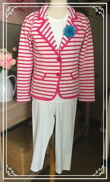 Roze gestreepte blazer met wit t-shirt en legging - Maat 152-158