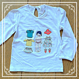 Wit shirtje met poppetje dat je kan aankleden - maat 98
