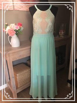 Turquoise jurk met kant van Bodyflirt boutique - Maat 38