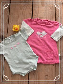 Roze jurkje met bijpassend rompertje - Maat 62