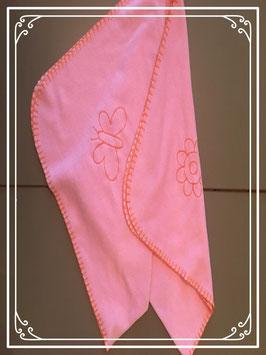 Roze fleece kleed met bloem