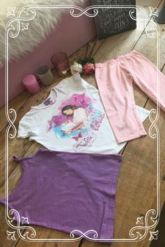 Vrolijk T-shirt met paars hemd en roze broekje van verschillende merken - Maat 134/140